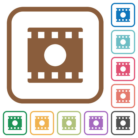 Movie record simple icons in color rounded square frames on white background Çizim