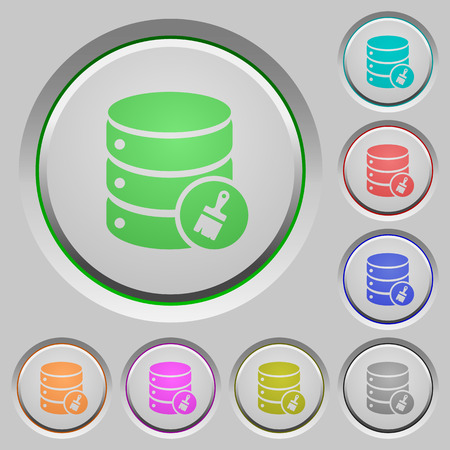 Database paste data color icons on sunk push buttons Illustration