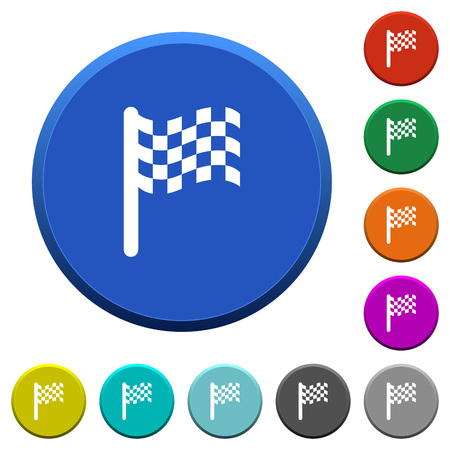 Race flag round color beveled buttons with smooth surfaces and flat white icons