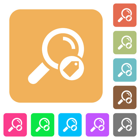 Search tags flat icons on rounded square vivid color backgrounds.