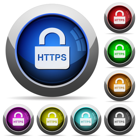Secure https protocol icons in round glossy buttons with steel frames