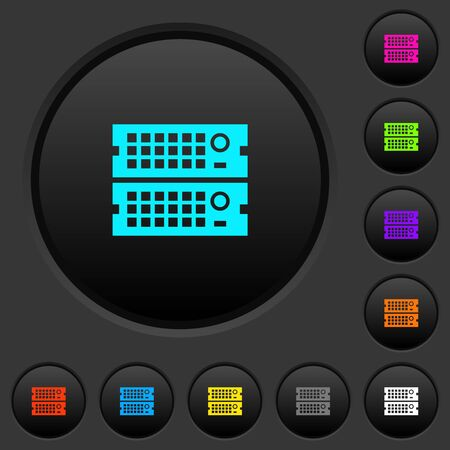 Rack servers dark push buttons with vivid color icons on dark grey background Illustration