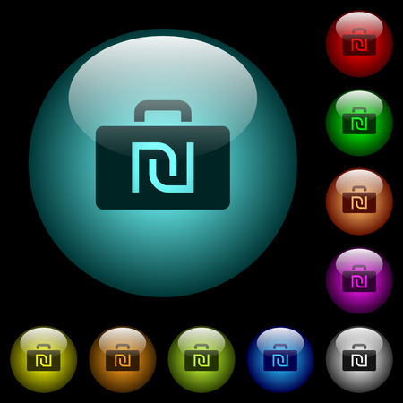 Israeli new Shekel bag icons in color illuminated spherical glass buttons on black background. Can be used to black or dark templates