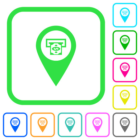 Bank ATM GPS map location vivid colored flat icons in curved borders on white background Illustration