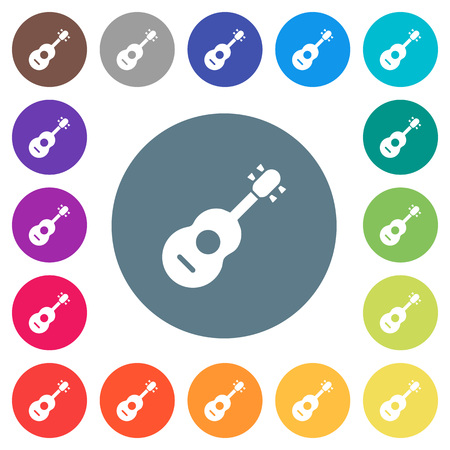 Acoustic guitar flat white icons on round color backgrounds. 17 background color variations are included.