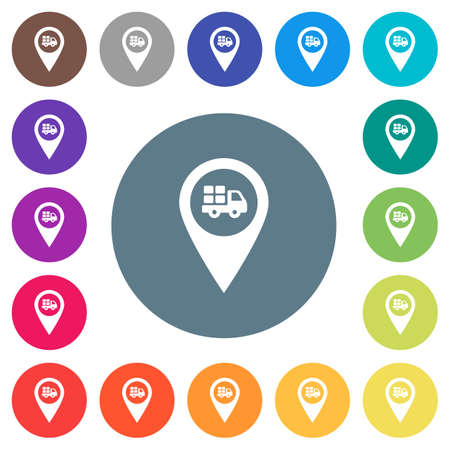 Transport service GPS map location flat white icons on round color backgrounds. 17 background color variations are included. Illustration