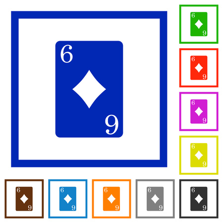 Six of diamonds card flat color icons in square frames on white background