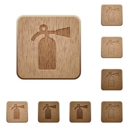 Fire extinguisher on rounded square carved wooden button styles Stock Illustratie