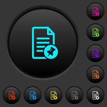 Pin document dark push buttons with vivid color icons on dark grey background