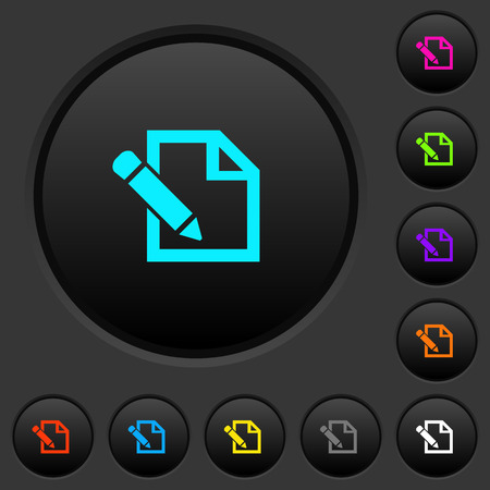 Edit with pencil dark push buttons with vivid color icons on dark grey background