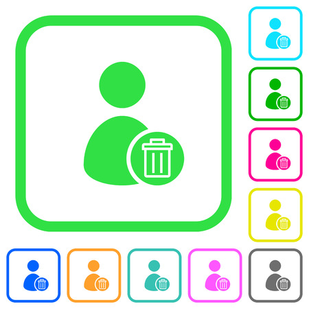 Delete user account vivid colored flat icons in curved borders on white background Illustration