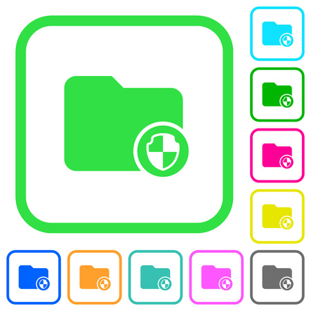 Directory protection vivid colored flat icons in curved borders on white background Vectores