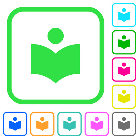 Library vivid colored flat icons in curved borders on white background