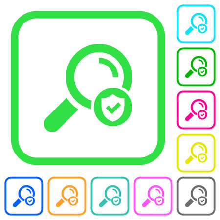 Safe search vivid colored flat icons in curved borders on white background.