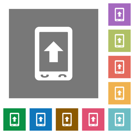 Mobile scroll up flat icons on simple color square backgrounds Ilustrace