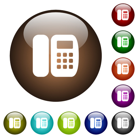 Office phone white icons on round color glass buttons