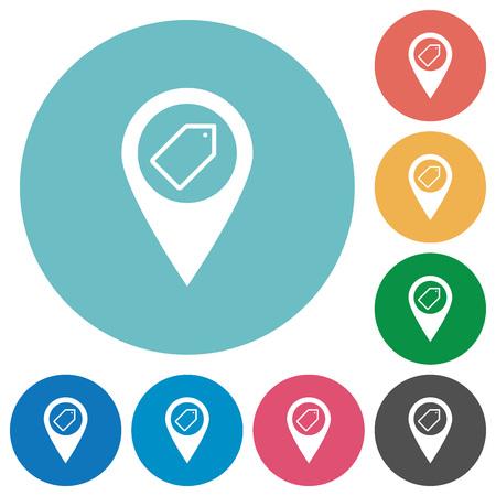 Kennzeichnung der flachen weißen Ikonen des GPS-Kartenstandorts auf runden Farbhintergründen Vektorgrafik