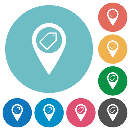 Tagging GPS map location flat white icons on round color backgrounds