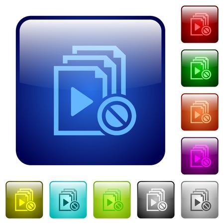 둥근 사각형 색상 광택 버튼 세트에서 비활성화 된 재생 목록 아이콘