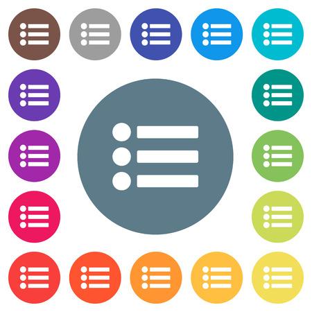 Bullet list flat white icons on round color backgrounds. 17 background color variations are included. Ilustração