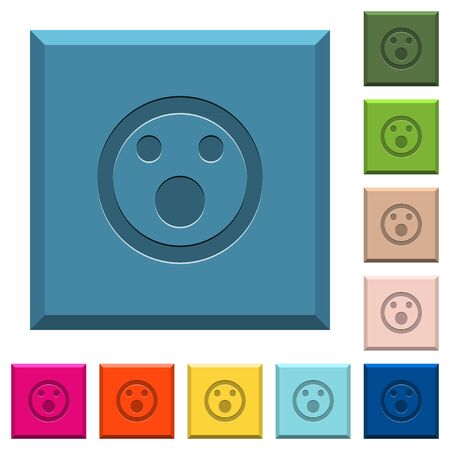 Shocked emoticon engraved icons on edged square buttons in various trendy colors
