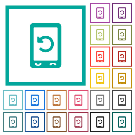 Mobile redial flat color icons with quadrant frames on white background Çizim