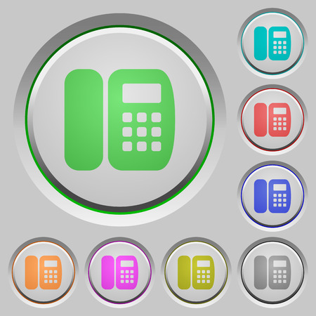 Office phone color icons on sunk push buttons Illustration
