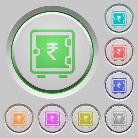 Indian Rupee strong box color icons on sunk push buttons