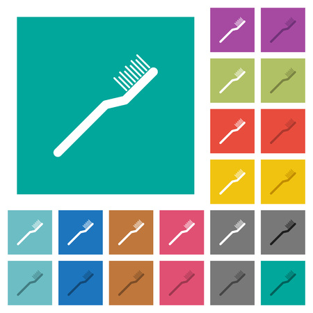Toothbrush multi colored flat icons on plain square backgrounds. Included white and darker icon variations for hover or active effects. Stock Illustratie