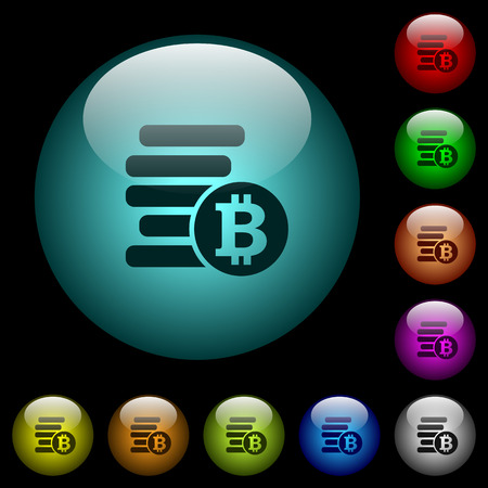 Bitcoins icons in color illuminated spherical glass buttons on black background. Can be used to black or dark templates