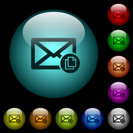 Copy mail icons in color illuminated spherical glass buttons on black background. Can be used to black or dark templates