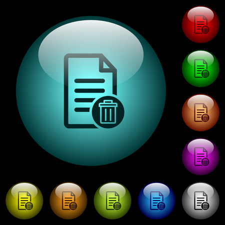 Delete document icons in color illuminated spherical glass buttons on black background. Can be used to black or dark templates.