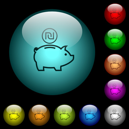 Israeli new Shekel piggy bank icons in color illuminated spherical glass buttons on black background. Can be used to black or dark templates