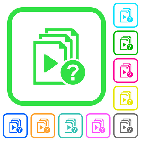 Unknown playlist vivid colored flat icons in curved borders on white background