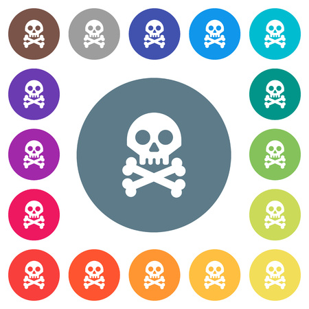 Skull with bones flat white icons on round color backgrounds. 17 background color variations are included.
