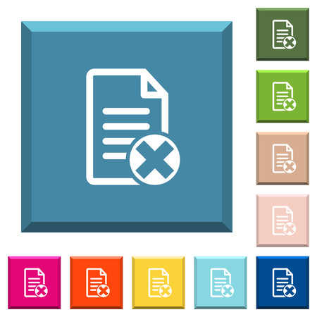 Cancel document white icons on edged square buttons in various trendy colors
