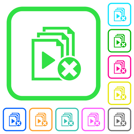 Cancel playlist vivid colored flat icons in curved borders on white background