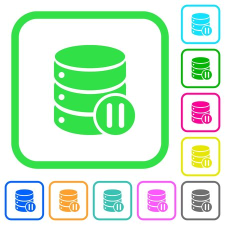 Database macro pause vivid colored flat icons in curved borders on white background