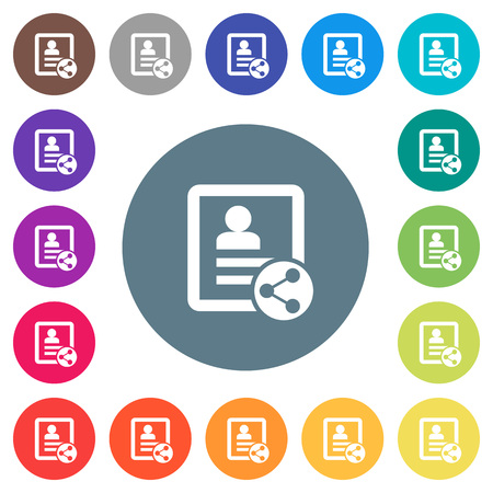 Share contact flat white icons on round color backgrounds. 17 background color variations are included.