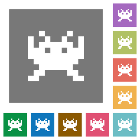 Video game flat icons on simple color square backgrounds