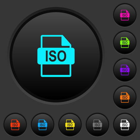ISO file format dark push buttons with vivid color icons on dark grey background 向量圖像