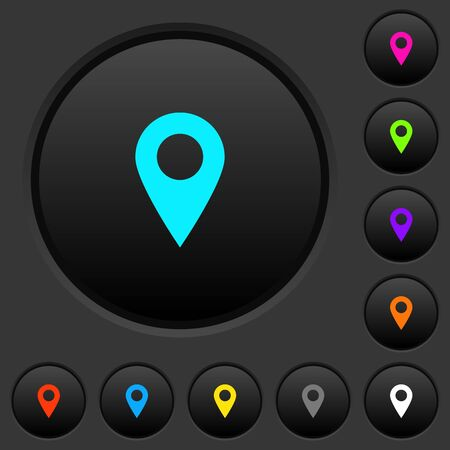 Blank GPS map location dark push buttons with vivid color icons on dark grey background