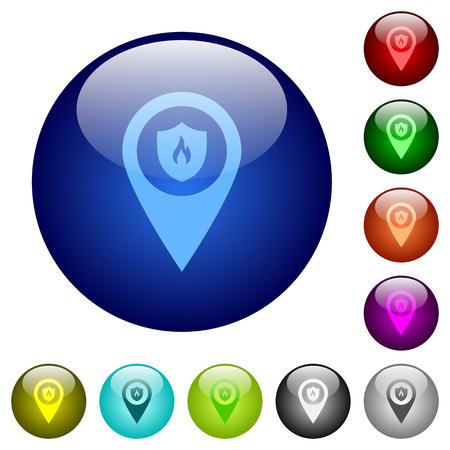 Brandweerkazerne GPS kaart locatie pictogrammen op ronde kleur glas knoppen Stockfoto - 98665071