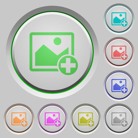 Add new image color icons on sunk push buttons  イラスト・ベクター素材