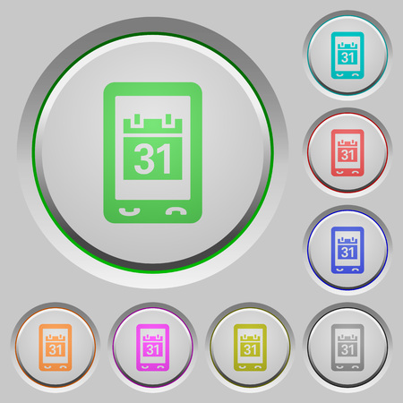 Mobile organizer color icons on sunk push buttons Illustration