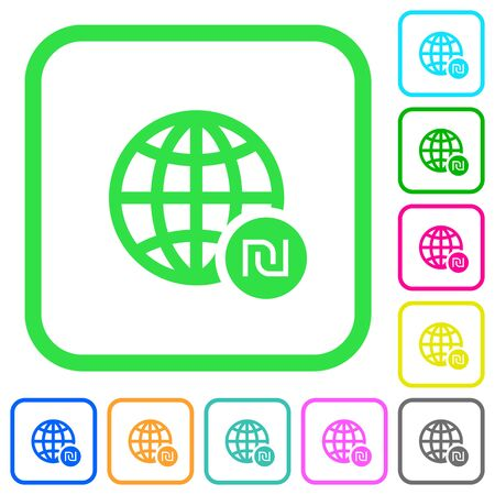 Online Shekel payment vivid colored flat icons in curved borders on white background Illustration
