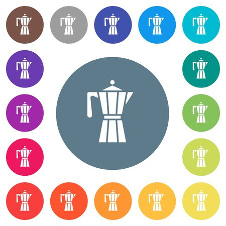 Coffee maker flat white icons on round color backgrounds, color variations are included.