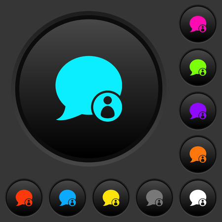 Blog comment sender dark push buttons with vivid color icons on dark grey background Çizim