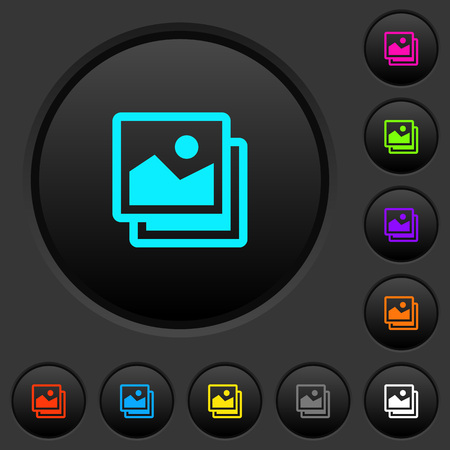 Pictures dark with vivid color icons on dark grey background