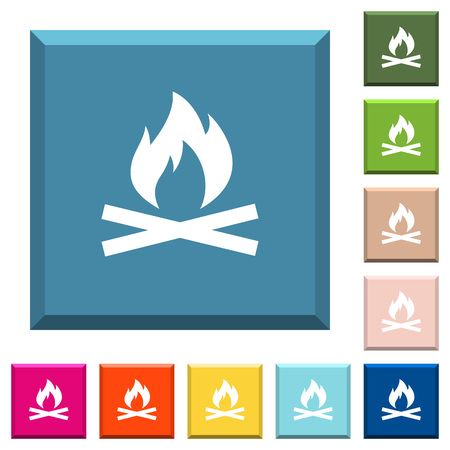 Camp fire white icons on edged square buttons in various trendy colors Illustration